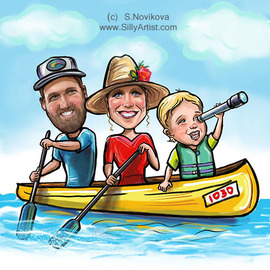 Austin caricature artist family in a canoe from photo
