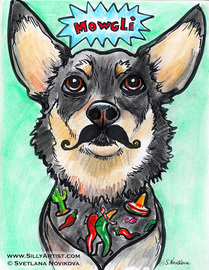 Funny dog portrait with the mustache Austin artist