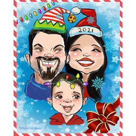 commissioned digital family christmas caricature greeting card