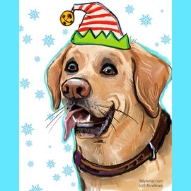funny labrador retriever in a hat holiday caricature portrait