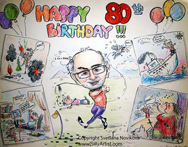 funny caricature of an elderly man playing golf birthday