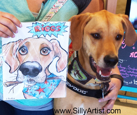 funny caricature of a dog with a bone austin silly artist