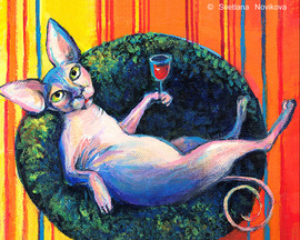 custom caricature painting of a cat drinking wine on a couch