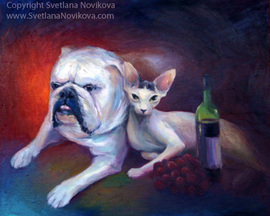 oil painting of a dog and a sphinx cat drinking wine