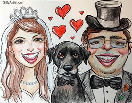 wedding caricature of a bride groom and dog in Austin silly artist