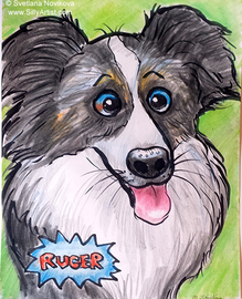hire custom cartoon artist for pets and dogs in austin