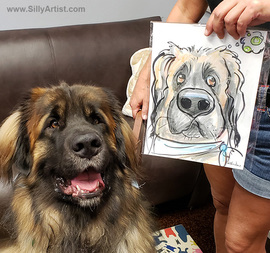 austin dog event caricature artist