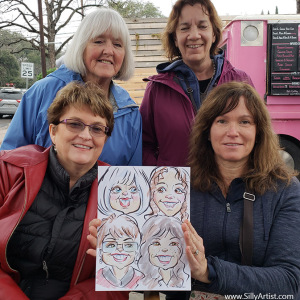 funny caricatures in Austin silly artist