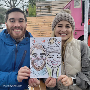 caricature of a couple in Austin silly artist
