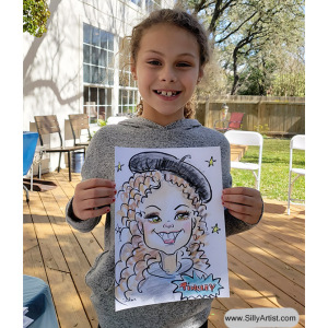 caricature of a young girl in paris themed costume at a birthday party in austin