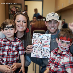 christmas caricature of a family at an Austin party silly artist