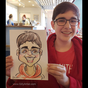 caricature of a boy in Austin texas
