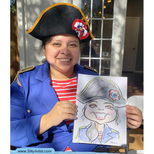 caricature of a person dressed in napoleon costume for birthday party in Austin silly artist