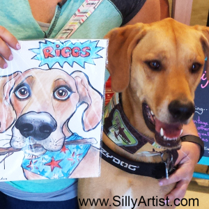 Dog caricature in Austin Texas Silly artist