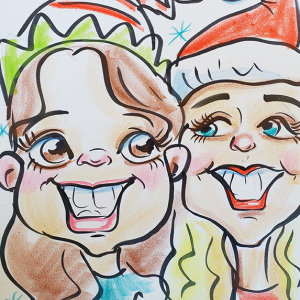 cartoon of people at a holiday party in Austin