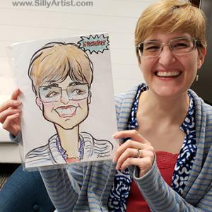 cartoon of an employee of Datical austin company silly artist