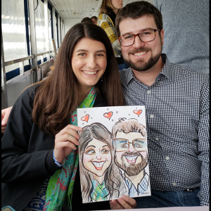 caricature of two people on a boat in Austin silly artist