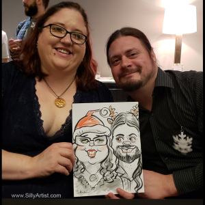 caricature of two people at a corporate party in Austin silly artist