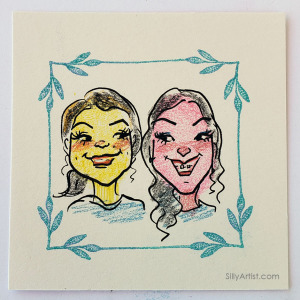 Thumbprint fingerprint caricature in corporate event in Austin Silly Artist